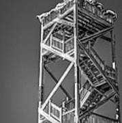 Old Wooden Watchtower Key West - Black And White Print by Ian Monk