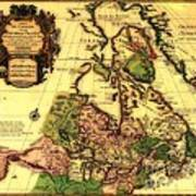 Old World Map Of Canada Art Print