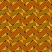 Olive Green And Orange Chevron Collage Art Print