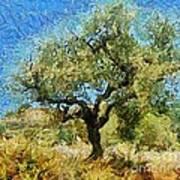 Olive Tree On Van Gogh Manner Art Print