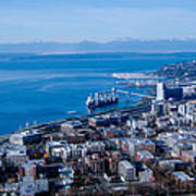 Olympic Mountains On Elliott Bay Seattle Washington Art Print