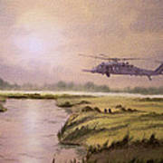 On A Mission - Hh60g Helicopter Art Print