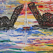 On The Hour. The Sailboat And The Steel Bridge Art Print by Andrew J Andropolis
