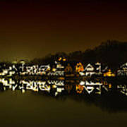 On The River At Night -  Boathouse Row Art Print