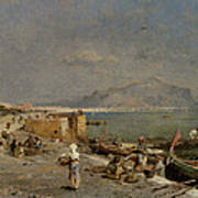 On The Waterfront At Palermo Art Print by Franz Richard Unterberger