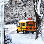 On The Way To School In Winter Art Print