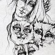 One Angel Three Cats Art Print
