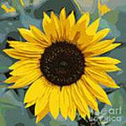 One Bright Sunflower - Digital Art Art Print