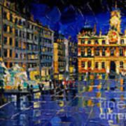 One Evening In Terreaux Square Lyon Art Print