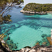 One Step To Paradise - Cala Mitjana Beach In Menorca Is A Turquoise A Cristaline Water Paradise Art Print