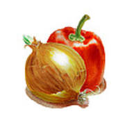 Onion And Red Pepper Art Print