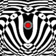 Op Art Geometric Black White Red  Abstract No.383. Art Print by Drinka Mercep