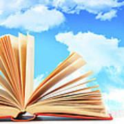 Open Book Against A Blue Sky Art Print