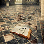 Open Book And Roasary On The Floor Art Print