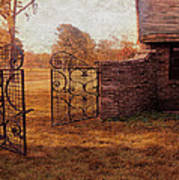 Open Gate By Cottage Art Print