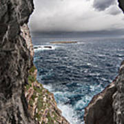 A Natural Window In Minorca North Coast Discover Us An Impressive View Of Sea And Sky - Open Window Art Print