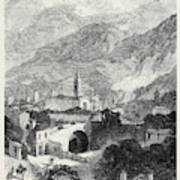Opening Of The Mont Cenis Tunnel The Town Of Susa 1871 Art Print