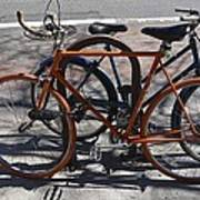 Orange And Blue Bikes Art Print