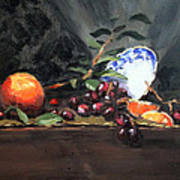 Orange And Grapes Art Print by Ellen Howell