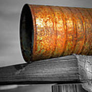 Orange Appeal - Rusty Old Can Art Print by Gary Heller
