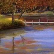 Orange Autumn Colors Reflected In Water  Art Print