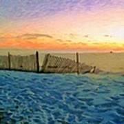 Orange Beach Sunset - The Waning Of The Day Art Print