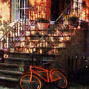 Orange Bicycle By Brownstone Art Print