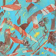 Orange Blue And Brown Art Print by Ellen Howell