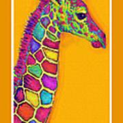 Orange Carosel Giraffe Art Print
