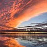 Orange Clouds Over Humboldt Bay Art Print