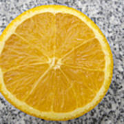 Orange Cut In Half Grey Background Art Print