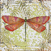 Orange Dragonfly On Vintage Tin Art Print