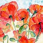 Orange Field Of Poppies Watercolor Art Print