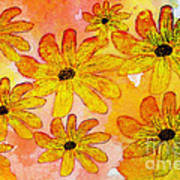 Orange Flowers Galore Digital Art Art Print