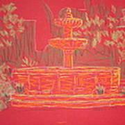 Orange Fountain Art Print by Marcia Meade