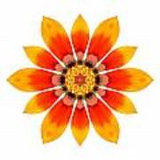 Orange Gazania I Flower Mandala White Art Print