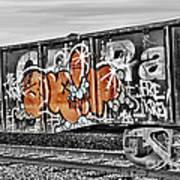 Orange Graffiti Art Print
