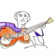 Orange Guitar Art Print