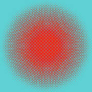 Optical Illusion - Orange On Aqua Art Print