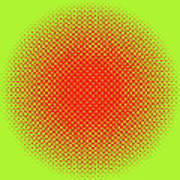 Optical Illusion - Orange On Lime Art Print
