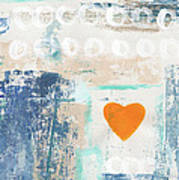 Orange Heart- abstract painting Art Print
