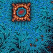 Orange On Blue Abstract Art Print