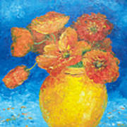 Orange Poppies In Yellow Vase Art Print