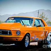 Orange Racing Mustang Art Print