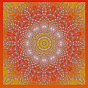 Orange Space Flower Art Print by Hanza Turgul