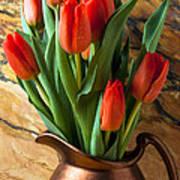 Orange Tulips In Copper Pitcher Art Print