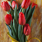 Orange Tulips In Yellow Pitcher Print by Garry Gay