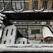 Orange Umbrella - Winter In New York Art Print