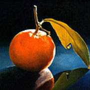 Orange With Leaf Art Print