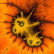Orange Yellow And Black Abstract Fractal Art Art Print
